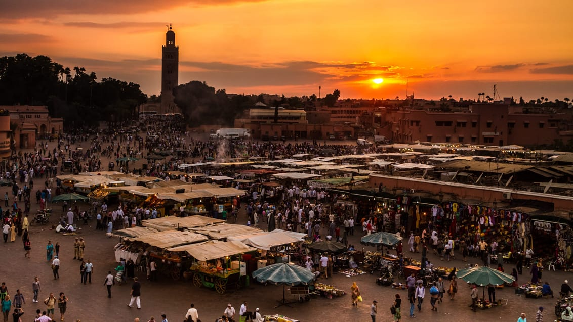 Udsigt over Medinaen i Marrakesh, Marokko
